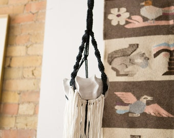 Ceramic Plant Pot with White and Blue Colored Macrame - Indoor Planter Hanging
