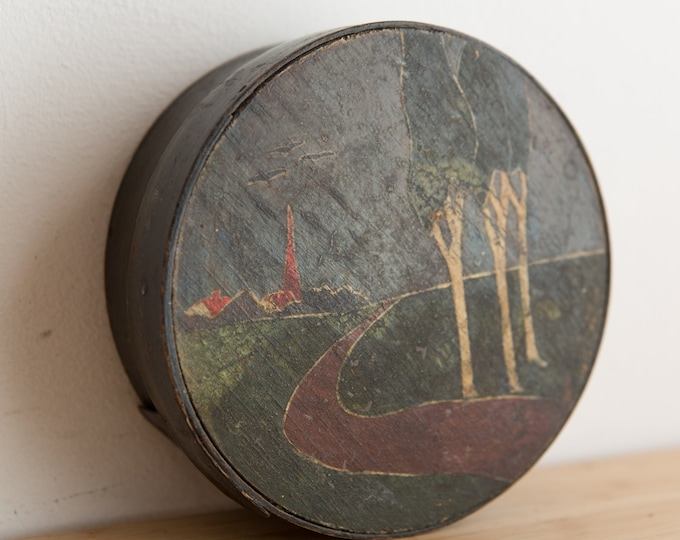Vintage Trinket Box - Handmade and Hand Painted Round Jewelry Box - Landscape Painting