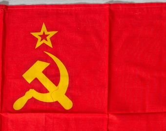 Vintage Soviet Flag / 1980's Russian Soviet Union Memorabilia / USSR Red and Golden Hammer and Sickle and Star