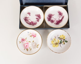 Four Royal Worcester Plates - Fine Bone China - Pin/Trinket Dishes - Rose Floral Design - Made in England  Vintage Floral Plates - Marissa