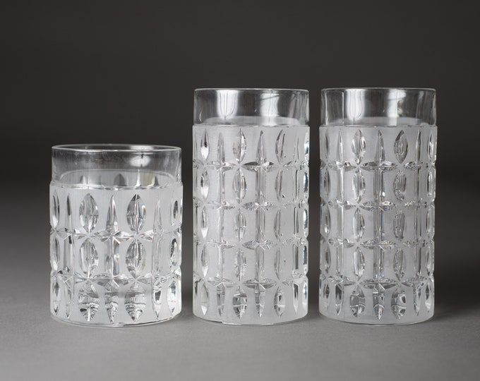 3 Etched Cocktail Glasses - Vintage Frosted Geometric Pattern Whiskey Glassware - Highball and Lowball Drinking Water Glasses
