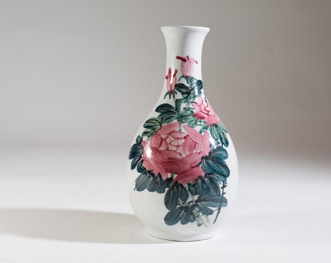 Vintage Ceramic Vase with Hand Painted Pink Flowers and Green Leaves - Studio Pottery Floral Fluted Bubble Vase - White Mid Century Vase
