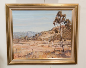 1970's Framed Oil Painting on Board - Australian Artist Jayne Henderson Original Painting - Vintage Landscape Painting with Fields and Tree
