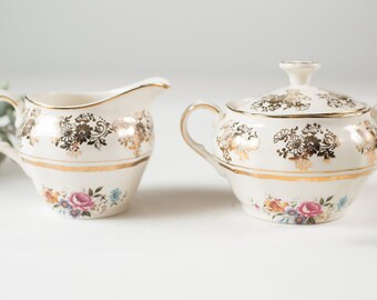 Alfred Meakin Vintage Creamer and Sugar - English Floral Coffee Serving with Flowers -  Ornate 22kt Golden Posy Pattern - Mothers Day Gift
