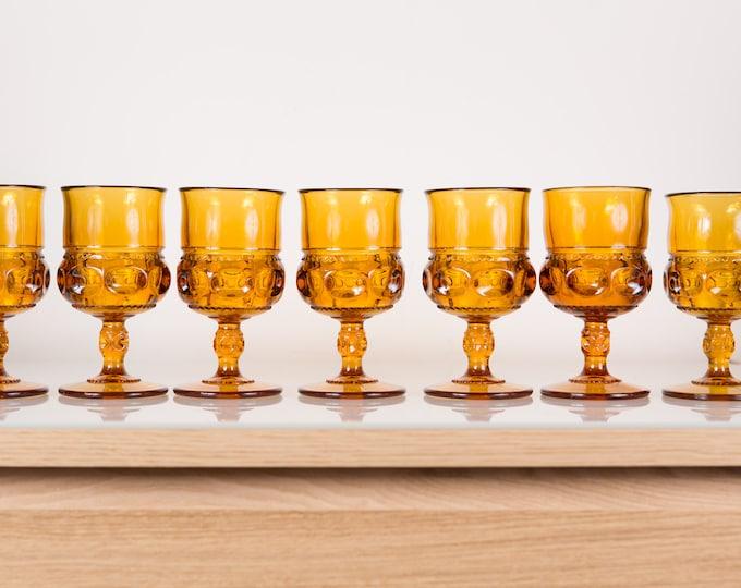 7 Vintage Amber Goblets - Textured Pressed Glass Wine Glasses - Orange Cocktail Barware
