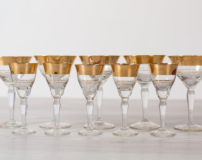 10 Apéritif Glasses - Gold Banded Vintage Cocktail Glasses - Gold Rimmed Hollywood Regency Barware - New Years Party