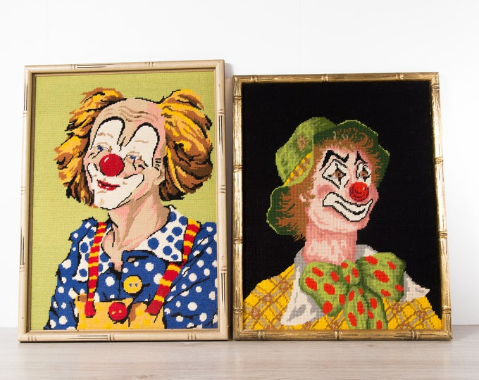 Vintage Clown Cross Needlepoint Stitch Artwork / Framed Embroidered Circus Clown Tapestry / Painted Face Redhead Ginger Polka Art Halloween