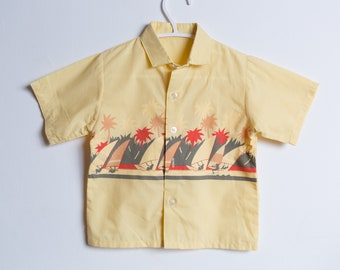 Vintage Kids Shirt - 60's Toddler Short Sleeve Striped Casual Hawaiian Shirt
