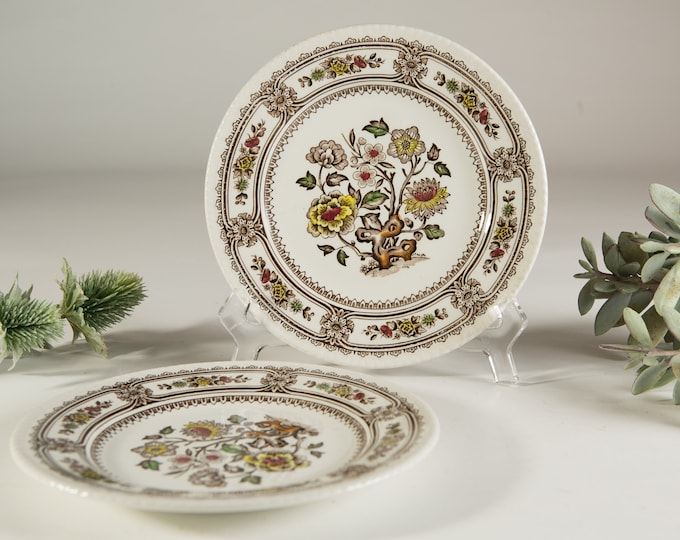 Vintage Floral Plates - Wood and Sons Burselm Hand Engraved 'Dorset' pattern Ornate brown Flowers - Made in England