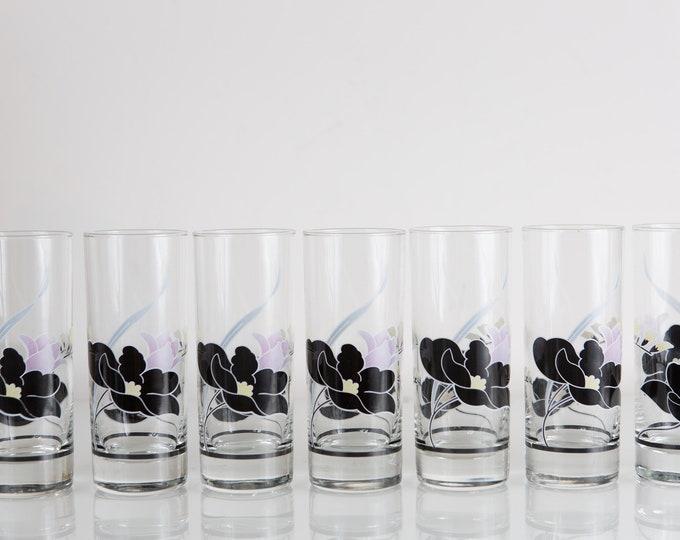 7 Vintage Glasses with Black Floral Pattern - 1980's Ornate Flower Cocktail Glasses