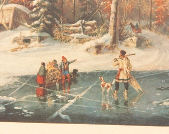 Vintage Canadian Print of Metis Hunter / Trapper on ice in Winter - Canada Fur Trade History HBC Coat