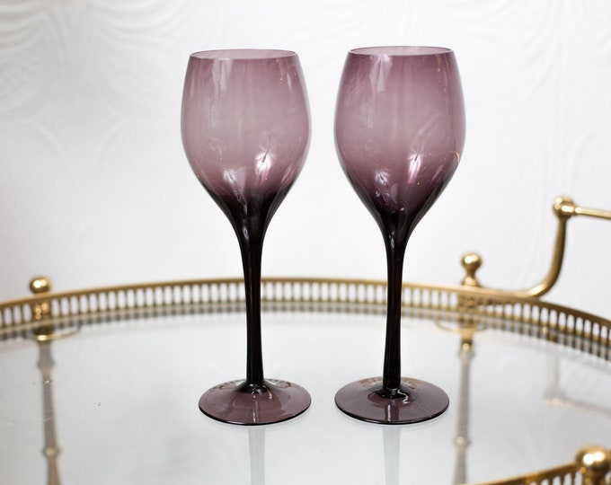 Pair Wine Glasses - Amethyst Purple Stemware - Retro Barware / Glassware