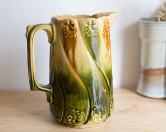 Antique Ceramic Pitcher - Majolica Green Ombre English Ironstone Water Jug - Art nouveau French Country Kitchen Farmhouse Collectible Decor