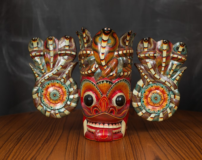 Wood Totem Lamp - Hand-carved and Painted Sri Lankan Cobra Mask Sculpture Red Totem with Snakes - Tiki Bulging Eyes Face