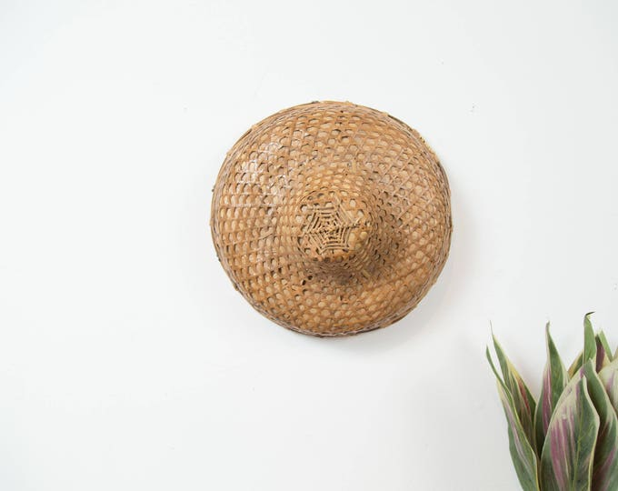 Antique Chinese Rice Hat - Rattan Wicker Asian Farmer's Hat with Leather Neck String- Wall Decor