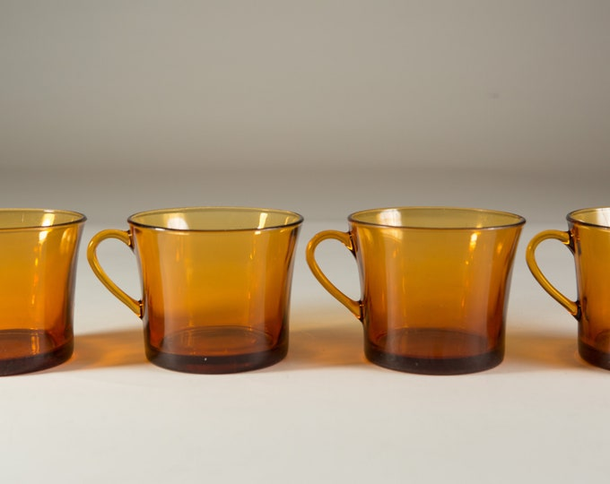 Vintage Amber Glass Mugs - Set of 4 Coffee or Tea Mugs