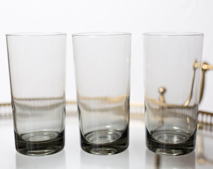 3 Vintage Cocktail Glasses - 12oz Handblown Grey Smokey Tumbler Glasses - Mad Men Retro Barware / Glassware