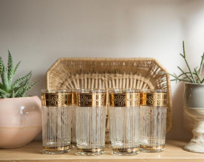 6 Highball Tumblers - 12oz 1950's Gold Rim Cocktail Glasses with Metallic Bands - Hollywood Regency Bohemian Barware