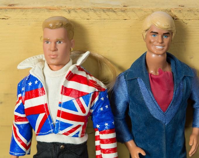 Vintage Barbie Dolls - 1970's / 1990's Fashion Dolls with British Flag Jacket and Blue Velvet Jumpsuit