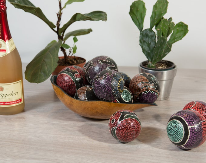 African Gourd Dot Art Bowl and Painted Balls - Vintage Hand Painted Tribal Indigenous Art Decor