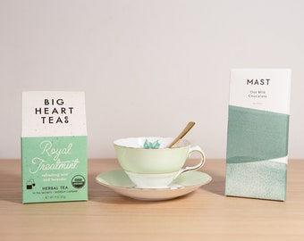 Majestic Mint Tea Gift Box Set - Vintage Delphine Teacup, Gold Spoon, Big Heart Tea Co, MAST Chocolate Bar - Mothers Day Gift for Mom