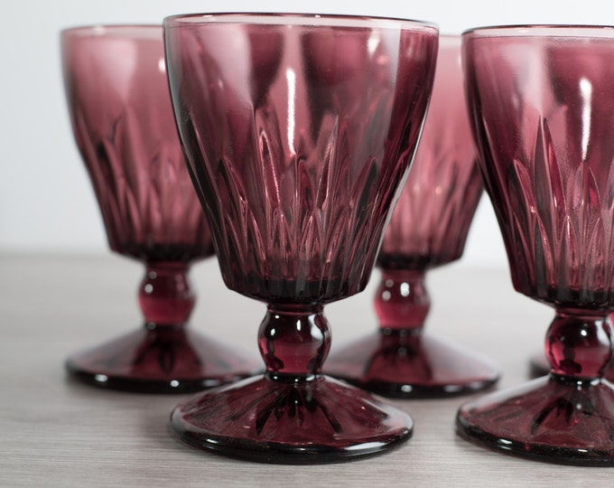 Hazel Atlas Morooco Amethyst Purple Sherry or Wine Apéritif Glasses with Diamond Pattern / Set of 4 Vintage Boho Bohemian Glasses