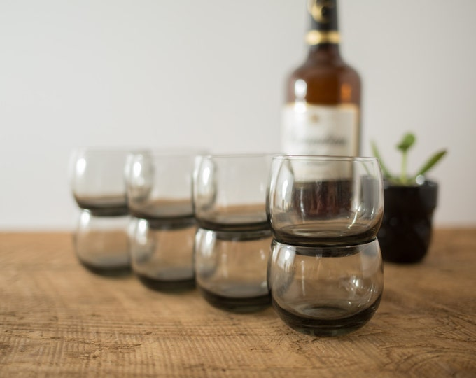 Smoke Grey Vintage Whiskey Roly Poly Drinking Glasses Barware (Mad Men 1960's Spherical Circle Style Whisky Tumblers) - Gift for Dad Grandpa