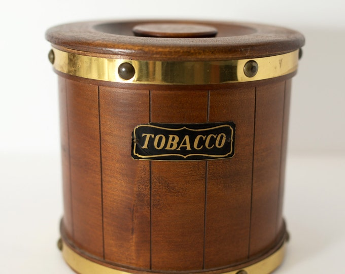 Vintage Wood Tobacco Bucket with Gold Metal Detailing / Gift for Dad / Round Cylinder Kitchen Utensil Storage Canister