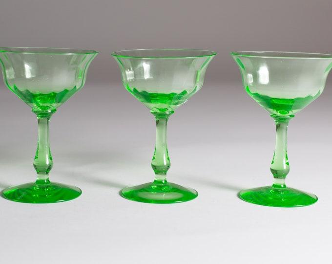 Vaseline Apéritif Glasses - 3 Antique Uranium Small Depression Glass Collectible Serving Stemware - Glows Under Blacklight