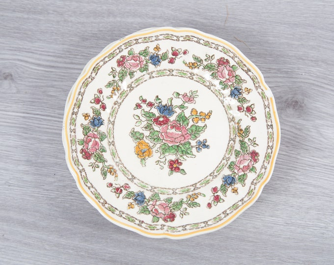 Vintage Floral Plates - Set of 5 1940's Royal Doulton The Cavendish Ornate Flowers Ceramic Creamy White Antique Dishware - Made in England