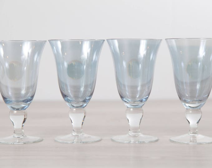4 Blue Wine Glasses - Large 12 Fluid Ounces Iridescent Vintage Stemware - Barware Glassware
