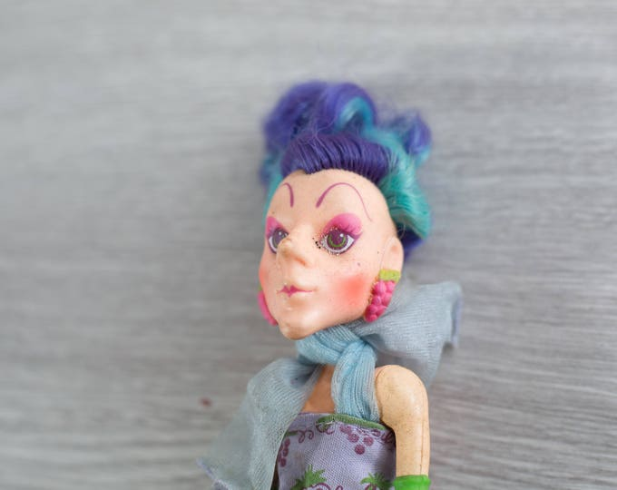 Strawberry Shortcake Doll - Vintage Drag Queen Doll - Heavy Makeup Witch Doll with Blue and Purple hair and Grapes