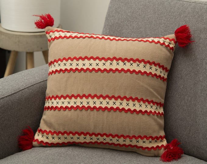 Vintage Scandinavian Pillow / 14x14 Brown Red and White Wool Decorative Throw Pillow - Mid Century Modern Stripe Pillow with Tassels