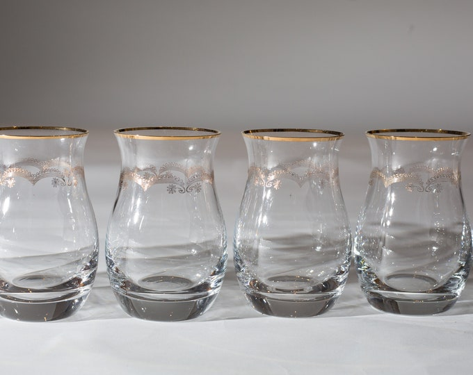 6 Gold Decal Lowball Tumblers - 8oz Fine Blow Tulip Shaped Glass with Metallic Ornate Decal - Hollywood Regency Bohemian Glass