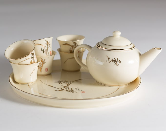 Chinese Mini Teacups and Pot - Set of Magnolia Cream Coloured and Gold Fine China Sake Cups