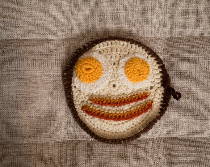 Crochet Pot Holder - Bacon and Eggs Knit Table Linen Cloth