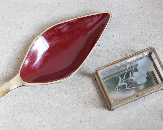 vintage Glass Jewelry Box and Red Ring Dish - Handmade Etched Glass Hinged Jewelry Box With Mirrored Bottom - for rings, necklaces, earrings