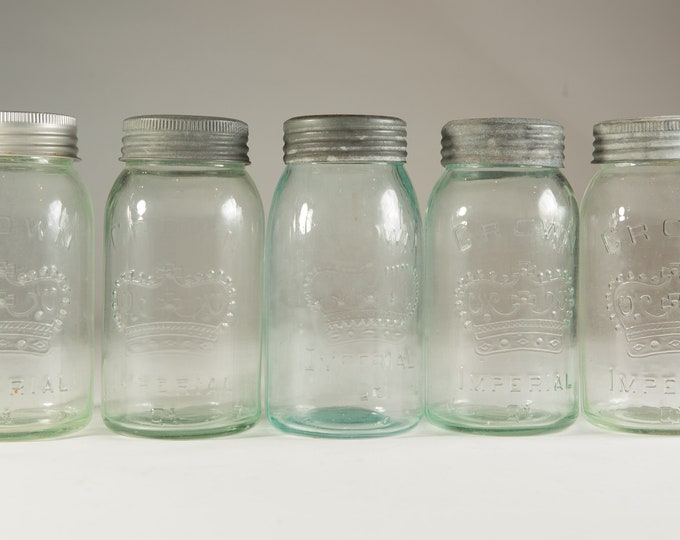 5 Vintage Crown Canning Mason Jars with Blue Glass and Zinc Lid (Made in Canada) - Farmhouse Decor Quart Jars - Canadiana Rustic Kitchen