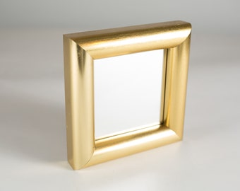 Vintage Gold Framed Mirror - Small Metal Hollywood Regency Frame for Prints, Artwork, Painting Pictures, Mirror