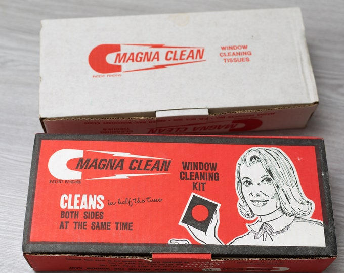 Vintage Window Cleaning Kit - 1986 Magna Clean Magnetic Window Cleaner - Cleans Both Sides - Retro Advert - Domestic vintage