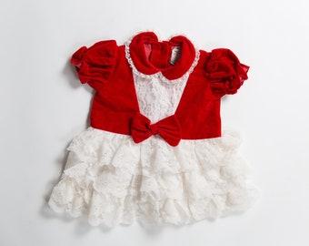 Newborn Baby Christmas Dress - 1980's Vintage Dress