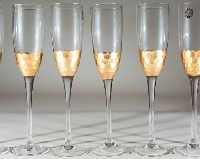 8 Gold Champaign Flutes - Honeycomb Gold Leaf Glasses - Modern Wedding Style Liquor Stemware / Mother's Day Gift - New Years Party Barware
