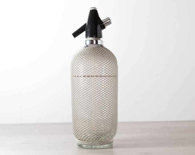 Vintage Seltzer Bottle - Wire Mesh Soda Siphon - Vintage Cocktail Barware - Glass Bottle - Braided Metal Soda Siphon - Vintage Barware