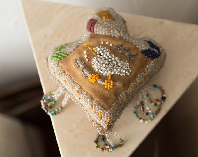 Antique Whimsy Beaded Pin Cushion - Native American - Whimsey Iroquois Art - Early 1900's Museum Quality Artifact