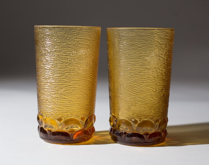 Vintage Amber Glasses - Pair of Honey Colored Textured Drinking Tumbler Highball Glasses - Yellow Cocktail Madmen Barware
