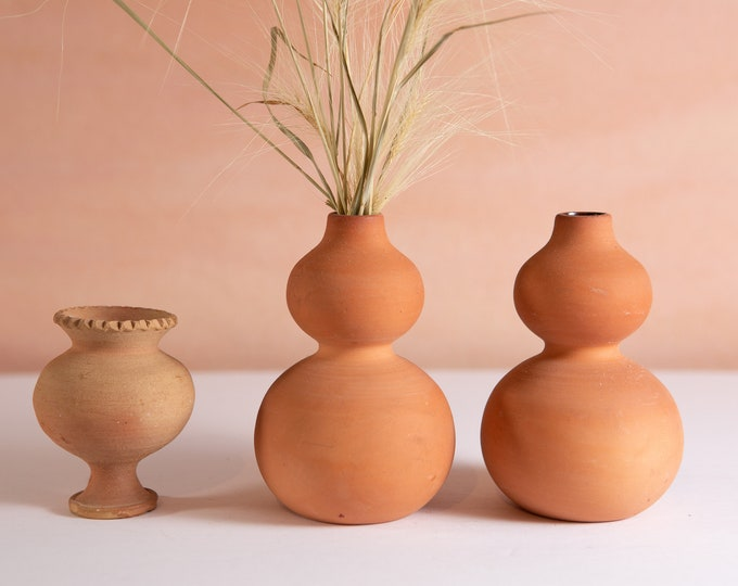 3 Terracotta Vases - Vintage Small Torso / Bubble Silhouette Studio Pottery Art Vases for Floral Arrangement - Italian Tuscany Style Pots