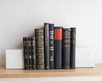 Vintage Black Books - Decorative Dark Coloured Book Covers For Home Library or Interior Design - Halloween Color Decor