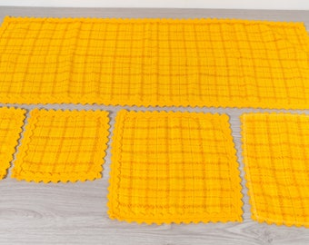 Vintage Plaid Yellow Runner and Napkins 1970's Striped Woven Mid Century Modern Geometric Style Fabric Tapestry Christmas Table