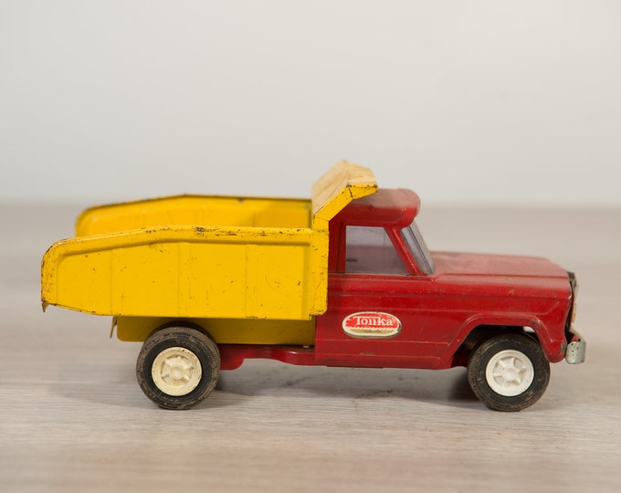 1960's Vintage Tonka Farms Red and Yellow Truck - Collectible Antique Metal Toy