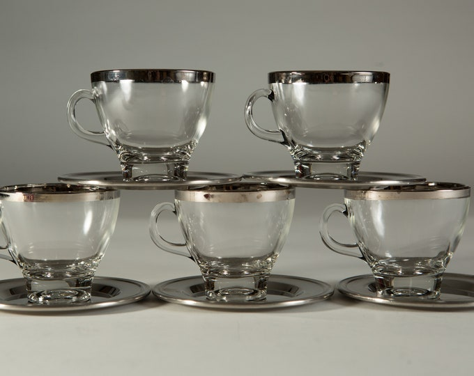 Vintage Glass Mugs with Platinum Rims - Set of 5 Demitasse Coffee or Tea Mugs with Handles and Metal Saucers